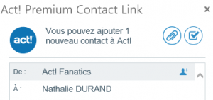 Intégration Act Premium avec Outlook 365 : Act Premium Contact Link